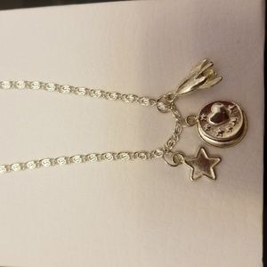 Moon star & rocket charms on long chain